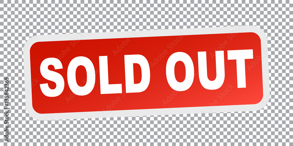 Fototapety, obrazy: Sold out. Red flat vector illustration