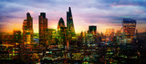 Fototapeta Londyn - City of London at sunset,  Multiple exposure image with night lights reflections.