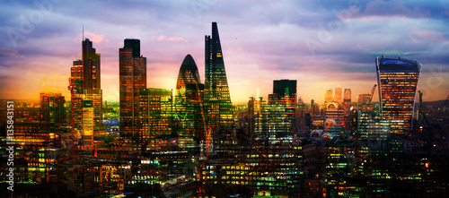 Poster London City of London at sunset, Multiple exposure image with night lights reflections.