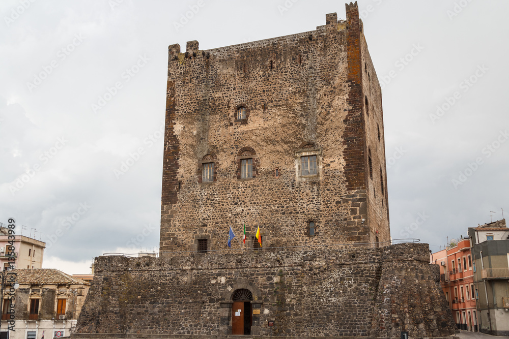 Fényképezés  Medieval Norman castle in the historic centre of Adrano, Sicily