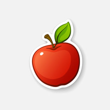 Vector Illustration. Red Apple With Stem And Leaf. Healthy Vegetarian Food. Cartoon Sticker In Comics Style With Contour. Decoration For Greeting Cards, Posters, Patches, Prints For Clothes, Emblems
