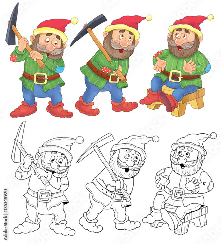 Snow White and seven dwarfs  A cute dwarf  Illustration for