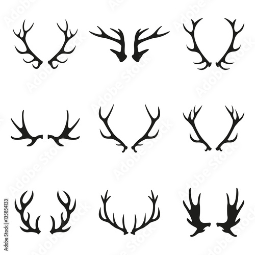 Leinwand Poster Deer antlers icon set