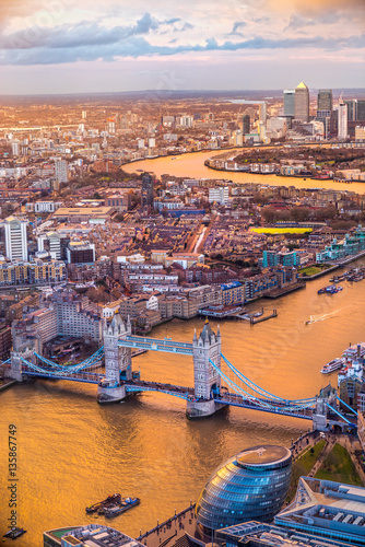 Tower Bridge, view from the Shard, London, UK Wallpaper Mural