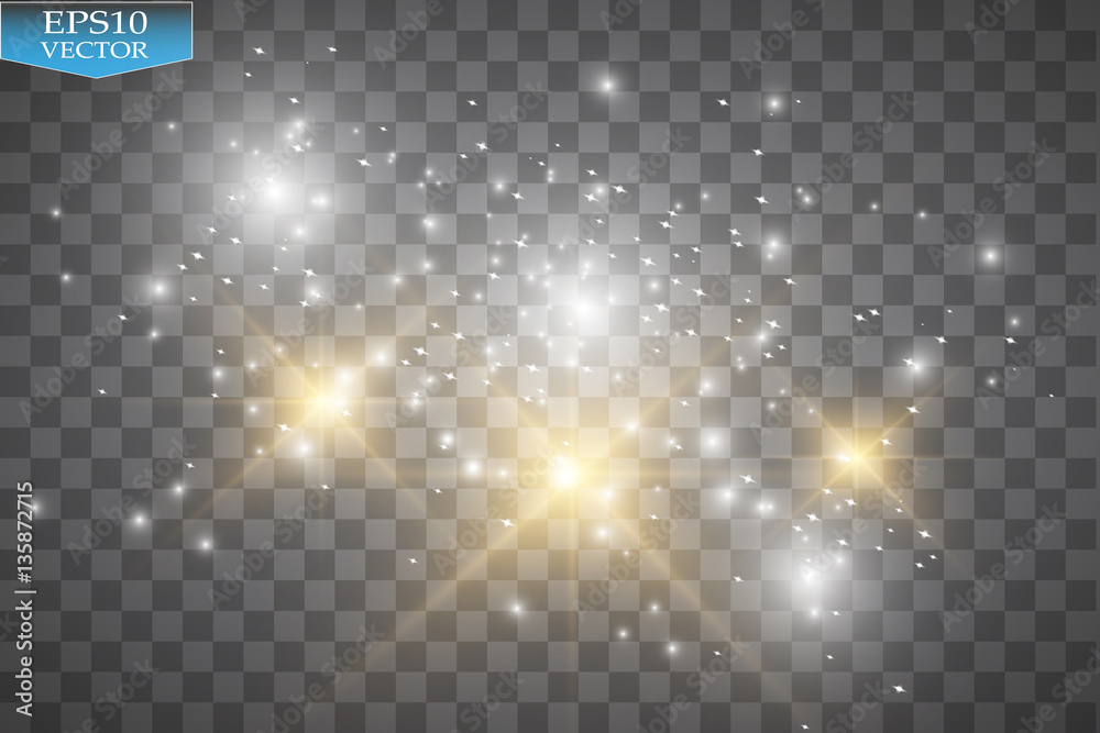 Fototapety, obrazy: Glow light effect. Vector illustration. Christmas flash. Dust. Vector glowing stars, lights and sparkles. Transparent effects