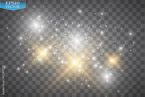 Obraz Glow light effect. Vector illustration. Christmas flash. Dust. Vector glowing stars, lights and sparkles. Transparent effects - fototapety do salonu
