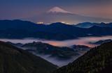 Mt. Fuji at night with sea of mist