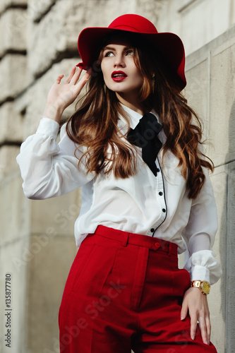 Outdoor Waist Up Portrait Of Young Beautiful Fashionable