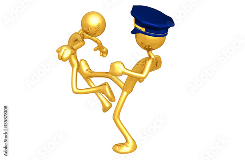 Fényképezés  The Original 3D Character Illustration Police Officer Kicking Another