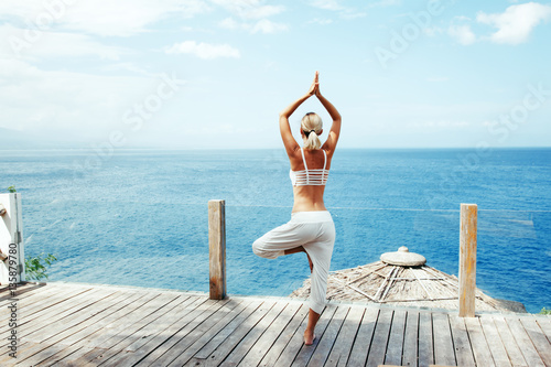 Yoga workout in the nature