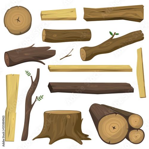 Fototapeta Wooden materials tree logs vector isolated