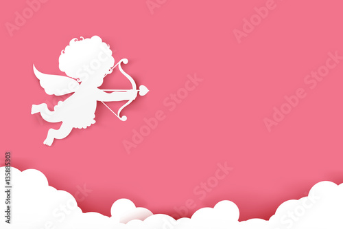 Cupid holding arrow with shadow on pink background with copyspac Poster Mural XXL