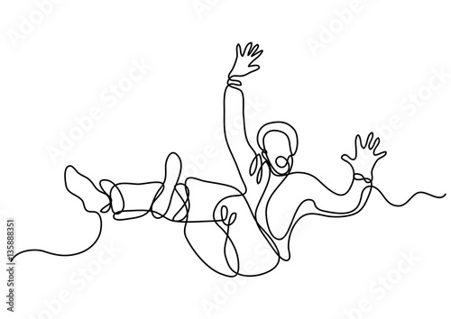 Valokuva continuous line drawing of falling man