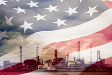 Double Exposure Of USA. Flag With Industrial Building