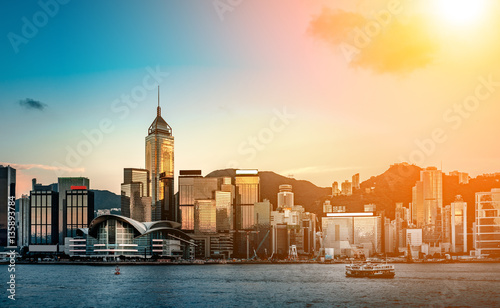 hong kong harbour view with sunlight Tableau sur Toile