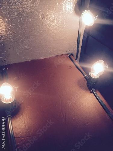 Spoed Foto op Canvas Licht, schaduw Lights on the rail