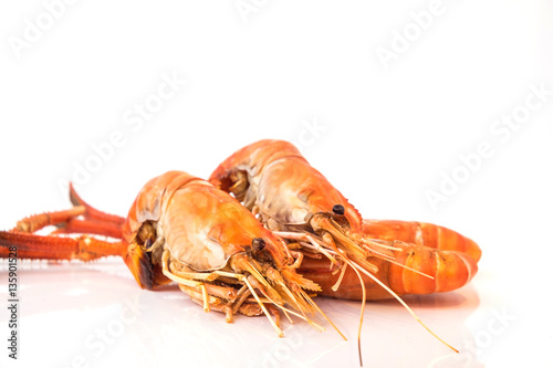 Grilled shrimp isolated on white background Wallpaper Mural