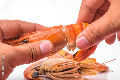 Grilled shrimp isolated on white background Canvas Print