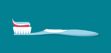 Dental Concept. Toothbrush With Toothpaste  Isolated. Flat Design, Care Health, Hygiene Healthy,vector Illustration