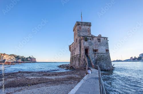 Photo sur Aluminium Ligurie The ancient castle on the sea, Rapallo, Genoa (Genova), Italy