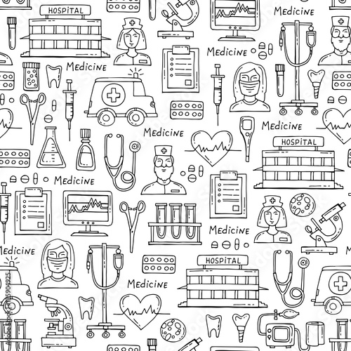 Vector Pattern With Hand Drawn Symbols Of Hospital Pharmacy On