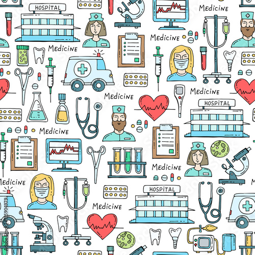 Cuadros en Lienzo  Vector pattern with hand drawn colored symbols of hospital, pharmacy