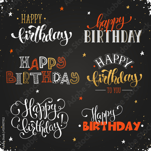 Hand Written Happy Birthday Phrases In Red And Gold Greeting Card Text Templates On Chalkboard