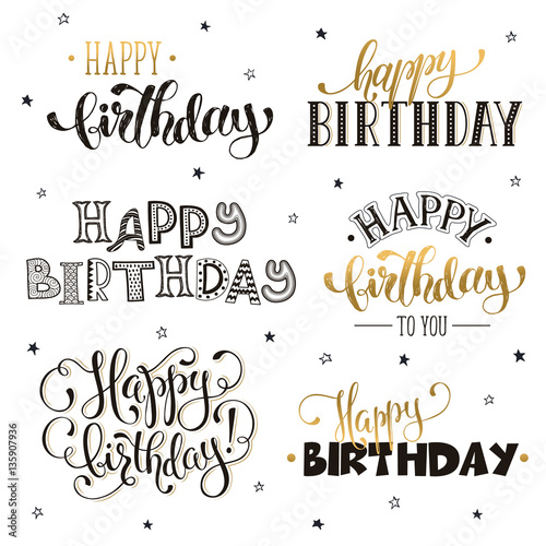 Hand written Happy birthday phrases in gold. Greeting card text ...