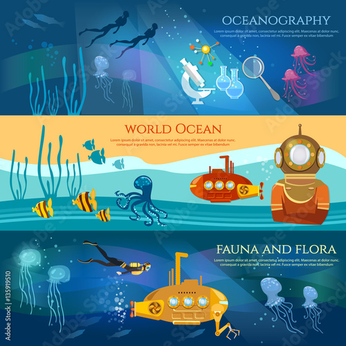 Valokuva Oceanography. Sea exploration banner. Scientific research of sea