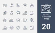Set Of Travel And Tourism Line Icons