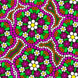 Seamless pattern with spring flowers in stained glass style