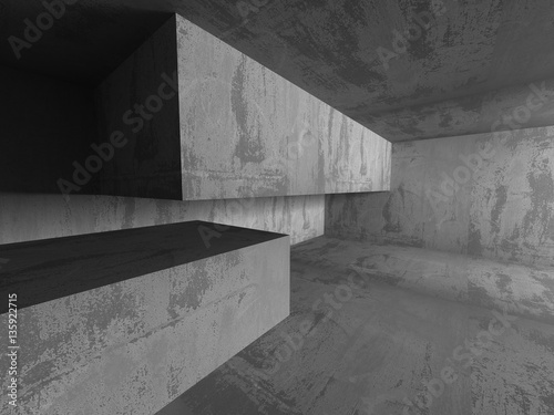 Poster Betonbehang Abstract geometric concrete architecture construction