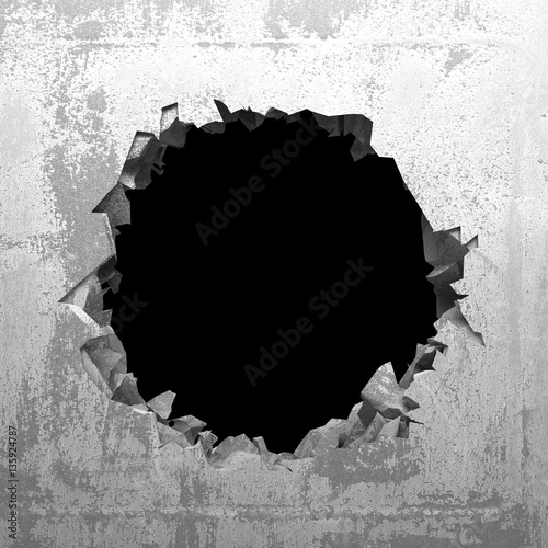 Stampa su Tela Explosion hole in concrete cracked wall. Industrial background