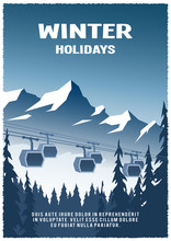 Cable Railway Car On Winter Landscape Background.