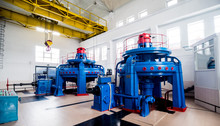 Turbine Generators. Hydroelectric Power Plant.