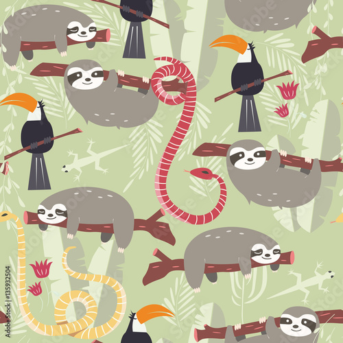 Cotton fabric Seamless pattern with cute rain forest animals, toucan, snake, sloth