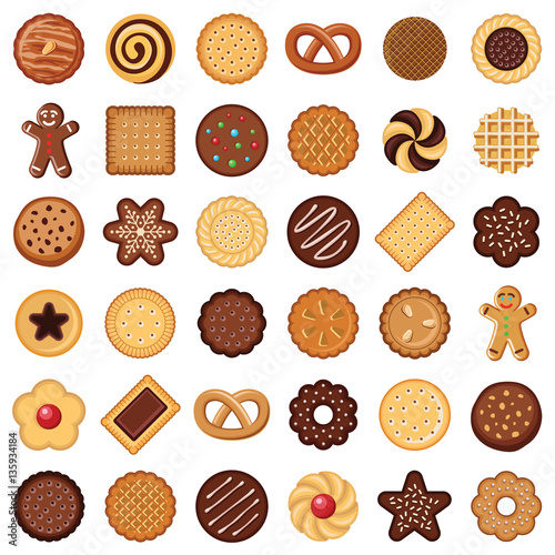 Photo  Cookie and biscuit icon collection - vector color illustration