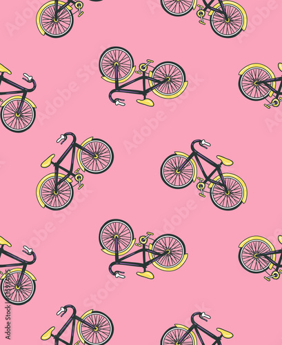 Cotton fabric Vector hand drawn illustration with bicycle.  Cycling design isolated on the pink background. Seamless bicycles pattern.  Sport print design.
