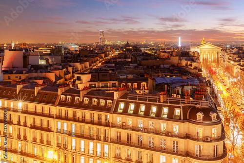 Poster Madrid Paris. Aerial view at night.