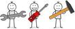 Drei Figuren mit Werkzeug Schraubendreher Werkzeugschlüssel und Hammer in der Hand
