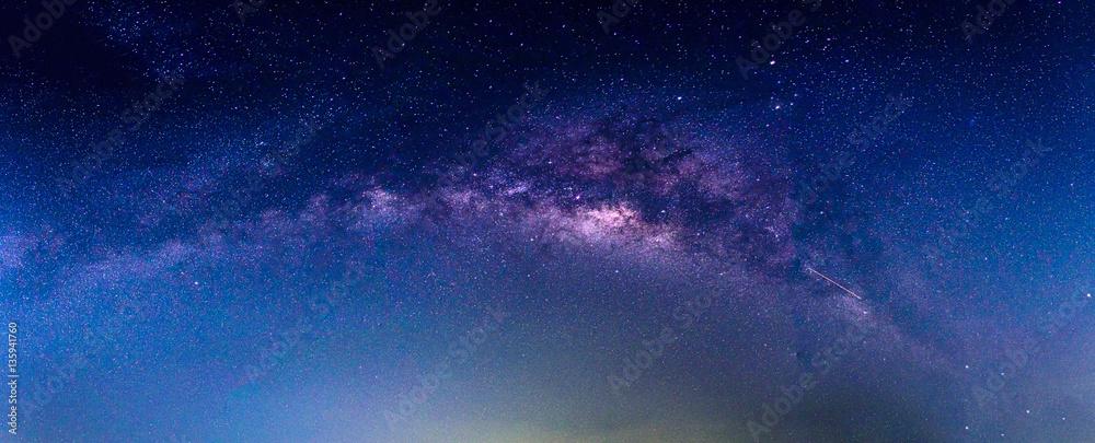 Fototapety, obrazy: Landscape with Milky way galaxy. Night sky with stars.