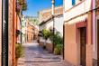 Beautiful street at the old mediterranean village of Esporles Majorca Spain Balearic Islands