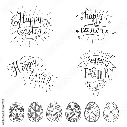 Staande foto Positive Typography Hand written Easter phrases .Greeting card text templates with Easter eggs isolated on white background. Happy easter lettering modern calligraphy style.
