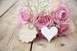 canvas print picture - Muttertag - rosa Rosen mit Herz - Nostalgie, Vintage - Muttertagsgrüße