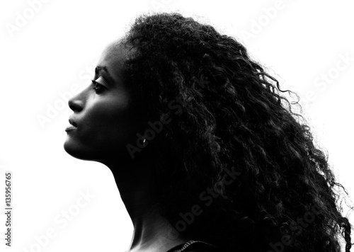 Greyscale portrait of a gorgeous proud young woman Canvas Print