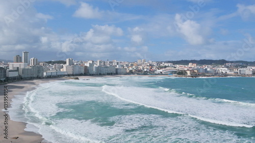 Rough sea in the bay of A Coruña, Galicia, Spain