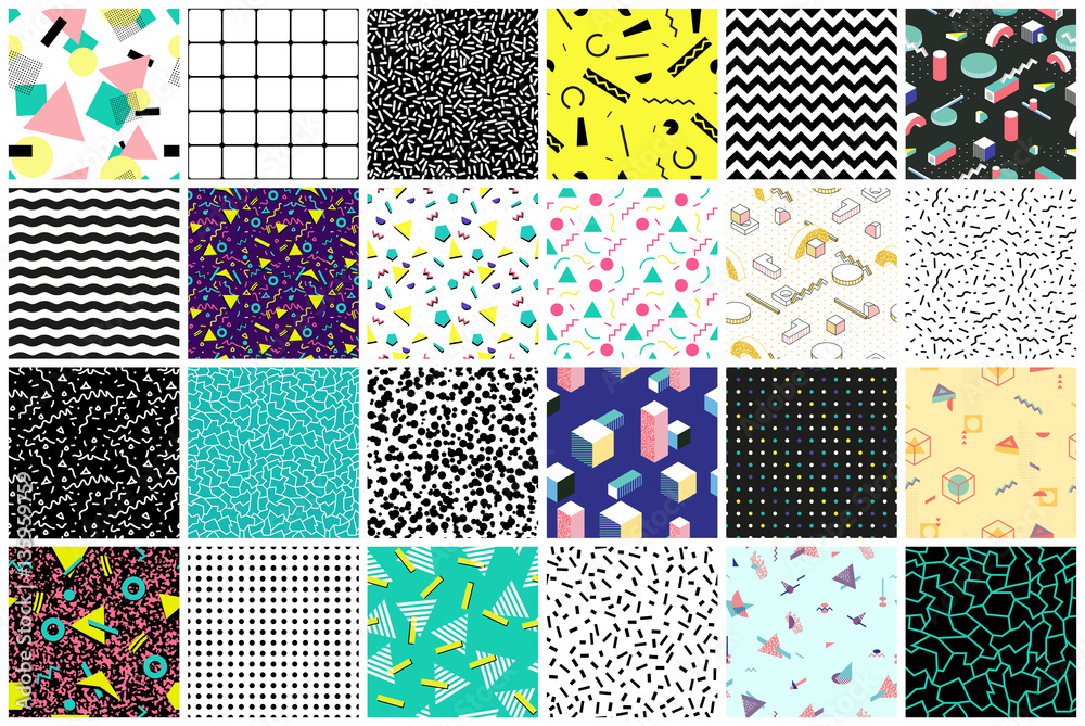 Fototapety, obrazy: Abstract seamless patterns 80's-90's styles.
