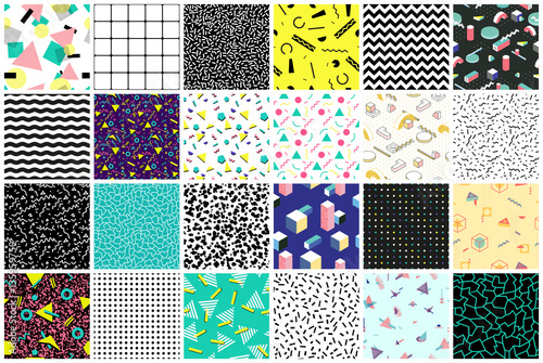 Deurstickers Kunstmatig Abstract seamless patterns 80's-90's styles.