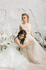 Naklejka Two beautiful bride in luxury lace dress in the room with a delicate decor, light