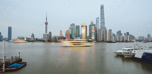Shanghai skyline in the evening, Asia Poster